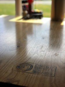 Aroogas reclaimed urban wood table